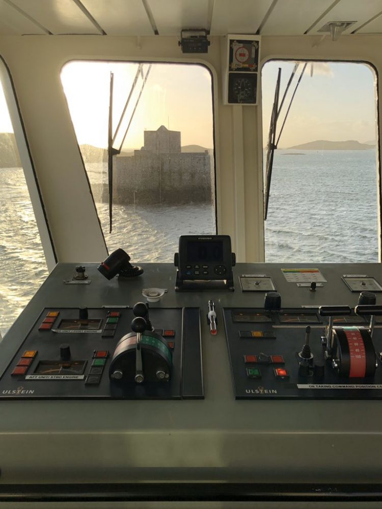 The view from the bridge as the ferry set out from Castlebay at 11am today. Pic by Lewis Mackenzie.