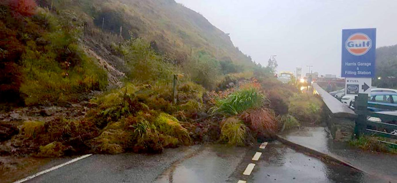Harris cut off by landslide, school shut